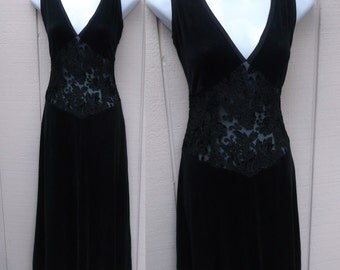 90s Vintage B.C.B.G. Black Stretch Velvet Midi Dress w/ Burnout Sheer Floral Midriff / Party Date Night Dress // Sz Med