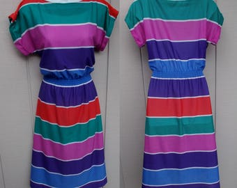 Vintage 70s Rainbow Striped Secretary Dress / Light Knit Blouson // sz Sml