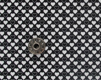 FAT EIGHTH Tiny Black and White Heart Print Fabric | Small scale black and white quilting cotton heart print from Stof Fabrics.