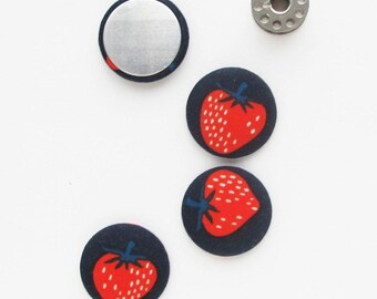 32mm Flat Back Fabric Cabochon | Four 1.25 inch strawberry fabric charms for textile jewelry or art, magnets, or attaching to a base/bezel.