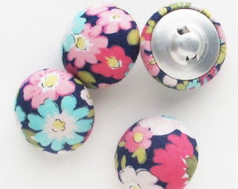 22mm Floral Fabric Covered Buttons | Four 7/8 inch half round shank buttons to use for embellishments, hair ties, packaging.