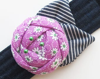 Wrist Pin Cushion   Keep your sewing pins close by wearing this fabric flower pincushion cuff.