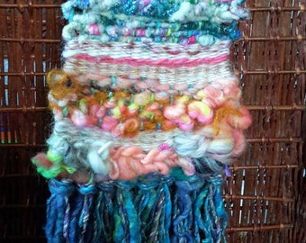 Small Weaving with Hand Spun Wool, Silk, Sparkle in pink and blue tones. Number Six