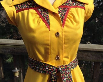 Vintage Yellow Floral Trim Dress