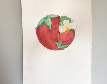 Original Watercolor - Full Strawberry Moon