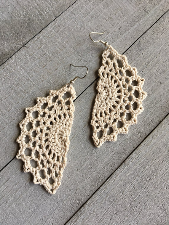 Boho Chic Crochet Statement Earrings Bohemian Gypsy Hippie Jewelry Gift for Her /Vintage Lace Filigree -Handmade Lace in Ivory