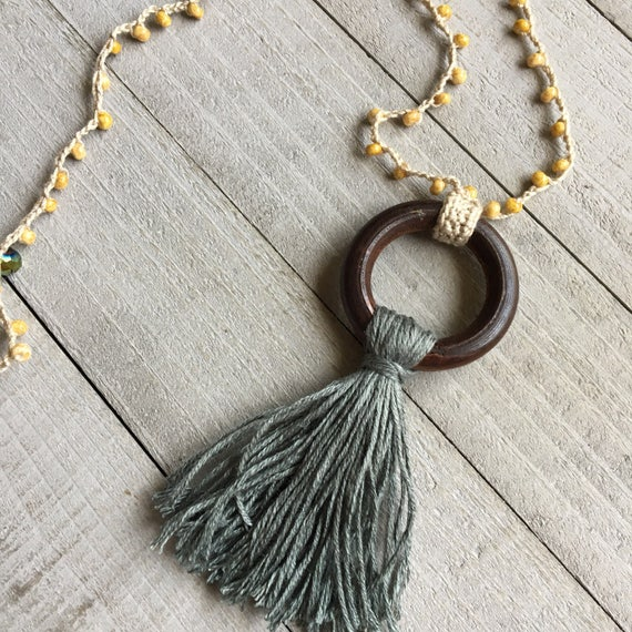"Boho Tassel Necklace Boho Crochet 32"" Long Layering Necklace Bohemian Jewelry Gift for Her Handmade Jewelry Festival Fashion"