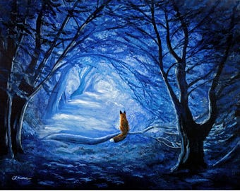 Red Fox in Blue Cypress Grove Wall Art Woods Forest Trees Wildlife Surreal Fantasy Woodland Spirit Animal Art Print Giclee Canvas Decor