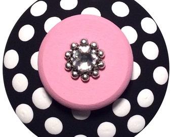 Black White knobs Pink Knobs Jeweled Polka Dot Knobs  Hand Painted Knobs Dresser Knobs Decorative Kids Children Nursery knobs Drawer Pulls