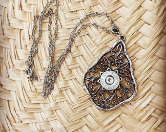 Antique Silver Filigree Teardrop Bullet Necklace with W-W Super 338 Win Mag, Bullet Jewelry for Women, Bullet Necklace