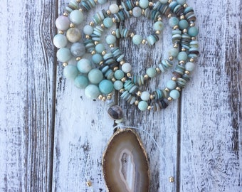 Hand Knotted Long Beaded Necklace with Amazonite and Shell Beads and Gold Accents with Agate Slice Pendant Amazonite Necklace Agate Necklace