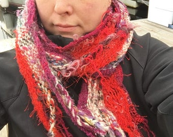 Madison BURG 02 Everyday Scarf in burgundy and cream handwoven and felted by me