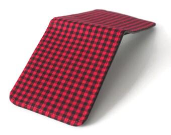 Vegan Wallet / Ultra Thin Minimalist Wallet / Lumberjack Red Check Billfold