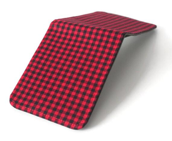 Super Thin Minimalist Vegan Wallet / Lumberjack Red Plaid Billfold