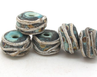 Handmade organic lampwork beads SRA. Copper green/raku beads. Make to Order