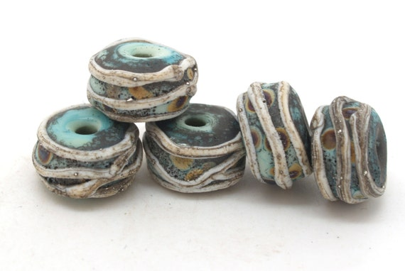 Copper green/raku beads. Make to Order