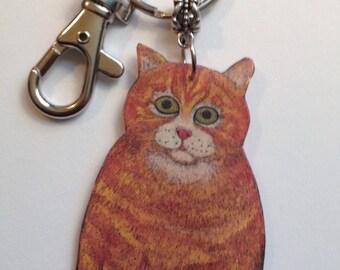 Handcrafted Plastic Orange Tabby Cat Key Fob Purse Charm