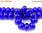 Boxing Week Sale 060 Transparent Cobalt Blue Spacers - Handmade Lampwork Glass Spacer Beads 5mm - SRA (Set of 10 Spacer Beads)