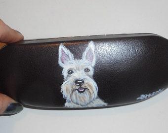 Wheaten Scottish Terrier Scottie Dog  Hand Painted Eyeglass Case