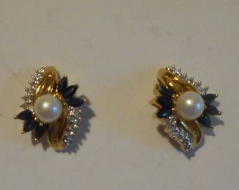 14k Yellow Gold with Diamonds sapphires and genuine Pearl Earrings FINAL SALE