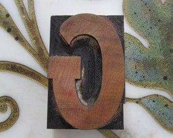 Letter G Antique Letterpress Wood Type Printers Block