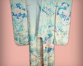 Vintage Iris, Peony, Kiku, Sakura Silk Japanese Furisode Kimono - Taller Size, Formal Wear, Spring Garden