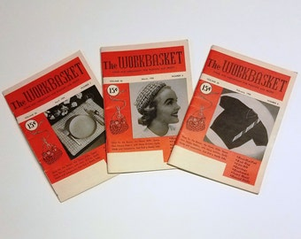 Workbasket Home and Needlecraft Magazines (3) - Feb 1955 - March 1955 - April 1955 - Work Basket