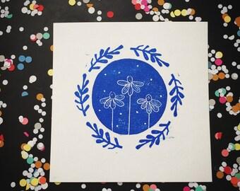 Flower print - flower art print - blockprinting coneflowers original art - blue black green handprinted artwork