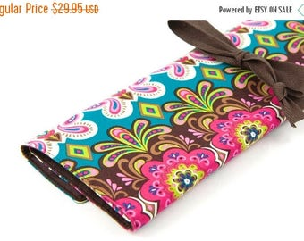 Sale Large Knitting Needle Case - Woodland Whimsy - brown pockets for all size needles or paint brushes