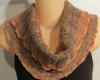 Hand Knit Wool Bamboo Cowl Scarf brown peach yellow