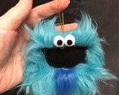 Gift Tag Furry Monster Chalkboard Ornament, reusable place card, teacher gift, teal blue, goatee