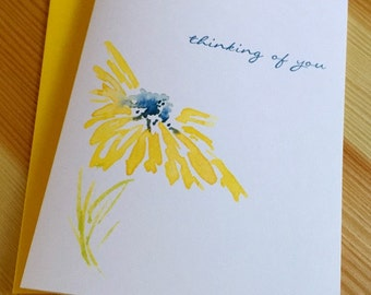 Thinking of You Greeting Card - Sympathy Watercolor Daisy Card - Floral Sympathy Card - Nature Sympathy Card - Watercolor Daisy Card