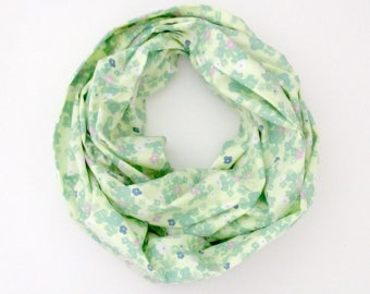 Infinity Scarf - Spring Yellow Green Blue Pink Flowers Floral - Cotton Fashion Tube Scarf