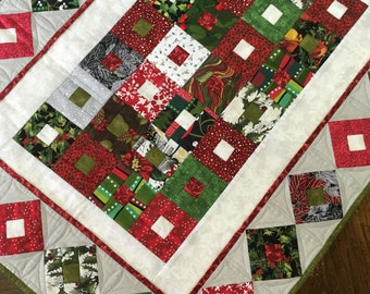 Christmas Box Quilted Table Runner, Scrappy Patchwork in 1 inch strips on gray background, winter, snowflakes, holiday home decor quilt