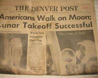 Vintage Newspaper The Denver Post, Denver Colorado July 21 1969, Americans Walk on Moon; Lunar Takeoff Full Newspaper from historic date