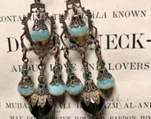 Victorian Earrings in Opal Blue and Olive Green