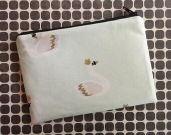 Swan zipper pouch - change purse - coin purse - zip pouch - mint green - swans - womans wallet - zipper pouch - bag - pouch