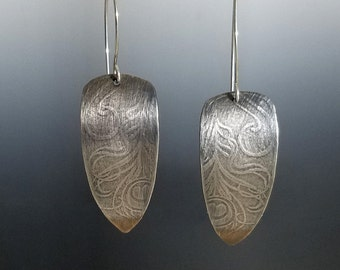 Peacock Feather Earrings Textured Long Sterling Silver Rolling Mill Metalsmith
