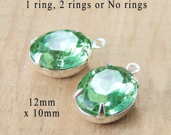 Peridot Green Vintage Glass Beads, 12mm x 10mm Oval, Silver Settings or Brass Settings, Glass Gems, Set Stones, Rhinestone, One Pair