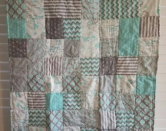 Moving Sale Sweetest Dreams Baby Quilt - baby blue, gray, and white 319