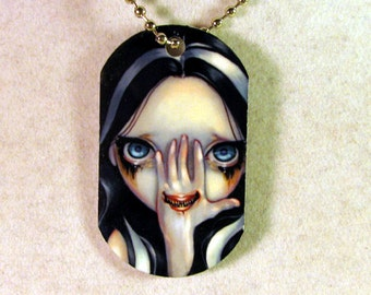 Divine Hand and Speak No Evil Dogtag Necklace from Jasmine Becket-Griffith Art goth horror creepy mouth eyes teeth ghost demon