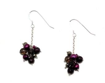 Lorelei - Garnet, smoky quartz, pyrite, and pearl earrings