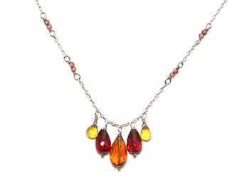 Brynn - Orange sapphire, garnet, and hessonite necklace