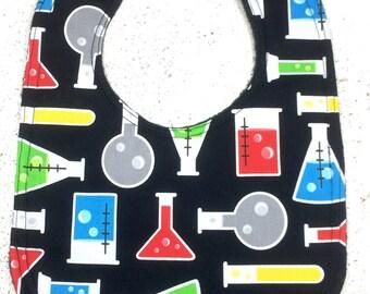 Nerd Baby Bib - Science - chemistry - infant - dribble bib - beakers - test tubes - handmade - baby shower gift