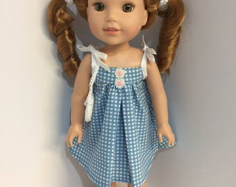 14.5 inch doll clothes blue gingham sun dress with matching purse and shoes fits dolls such as Wellie Wishers