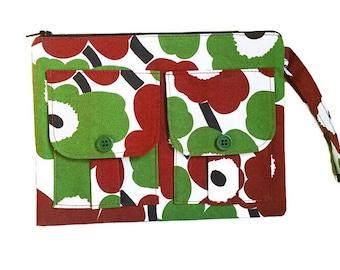 Brown Floral Wristlet, Wallet Wristlet, Zipper Wallet, iPhone Wristlet, Fabric Wallet, Women's Wristlet