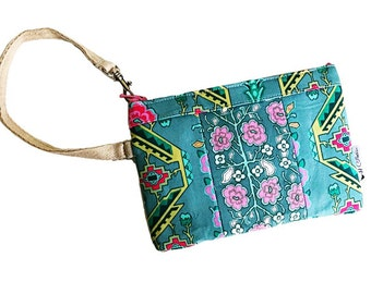 Sage Flower Wristlet, Wallet Wristlet, iPhone Wristlet, Clutch Wristlet, Zipper Wallet