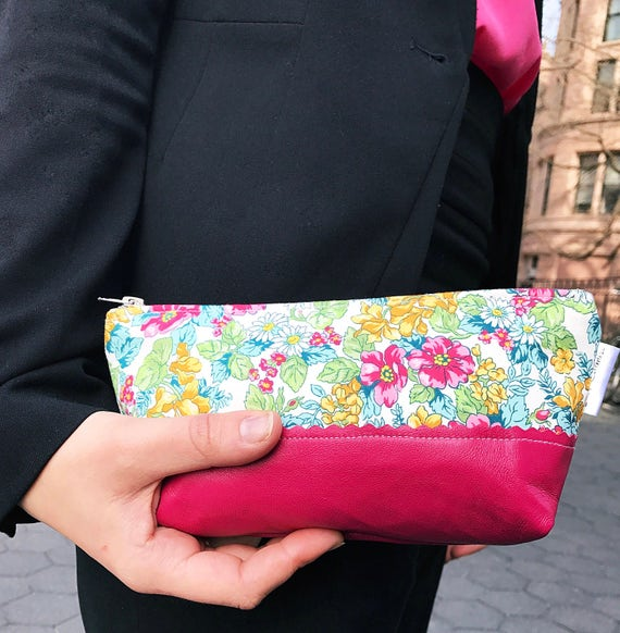 Floral Pink Leather Pouch, Cosmetic Bag, Travel Makeup Bag, Small Leather Pouch, Beauty Bag, Gift for Her