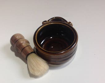 Coffee Brown Shaving Set with Synthetic Brush