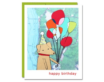 Happy Birthday Balloons with Dog Birthday Card